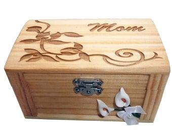 Mother / Mom Custom Handmade wood burned keepsake / Jewelry / Trinket  Box