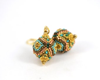 "Gold plated Earrings ""Samarqand"" Oriental  Style Beaded Earrings Beaded Bead 24K Japanese seed beads Beadwork Jewelry Multicolors Luxury"