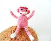 Wee Mites™ Teeny Tiny Classic Pink Sock Monkey, Hand Knit Monkey, Tiny Girl Monkey, Miniature Sock Monkey