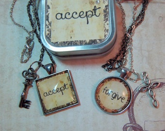 Word Necklace Custom Personal You Choose Your One Word for 2018 Pendant Necklace in Gift Tin for Teens Moms Friends