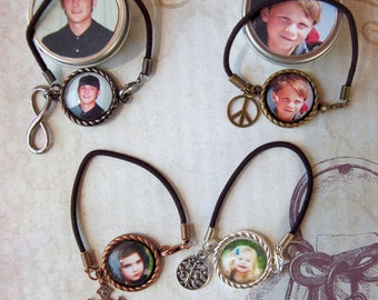 2 Photo Bracelets Custom Personalized Cord Bracelet with Charm in Matching Gift Tin for Mom Friends Family Teens Girls