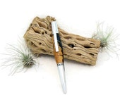 Lilac Wood Burl with Blue Acrylic - Ballpoint Pen