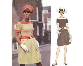 1960s Designer Pattern Vogue Couturier Design 1929 Belinda Bellville, Mod Color Block Mini Dress, Vintage Sewing Pattern Bust 31.5