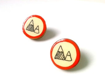 Red Illustrated Wooden Mountain Earrings