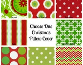 Choose One Christmas Pillow Cover. Premier Prints Red Chartreuse Green Throw Pillow Cushion Cover Pillow Case