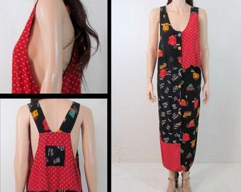 90's Dress Medium 80's Dress Medium 90's MINIMALIST Dress Maxi Dress 80's Jumper Overalls Dress Rayon Dress Grunge Dress Small Made in USA H
