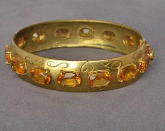 Gorgeous Vintage Cuff  Bracelet Gold and Amber Rhinestone Bangle