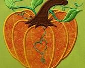 Pumpkin Heart Applique Embroidery Design 3 Sizes INSTANT DOWNLOAD