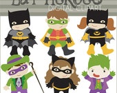 Bat Super Hero Clip Art -Personal and Limited Commercial Use- Super Heroes Bat Characters