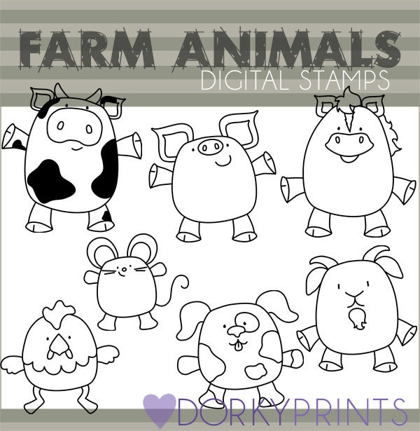 Line Art Farm Animals : Farm animals clipart personal and limited commercial