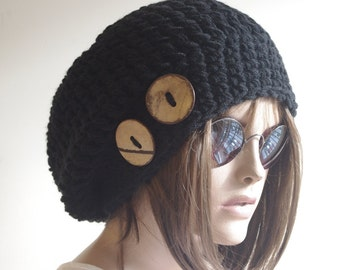 BLACK  Womens hat - chunky knit Slouchy BLACK  Beanie Slouch Hat Fall Winter Accessories Beanie Autumn Christmas Fashion