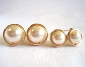 Cream Pearl Stud Earings, Cream Pearl Earings, Wire Wrapped Jewelry Handmade, Swarovski Ivory Pearl Earrings, 14k Gold Filled Post Earrings