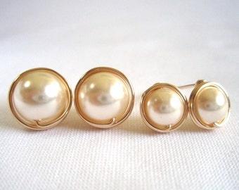 Cream Pearl Stud Earings, Wire Wrapped Jewelry Handmade, Swarovski 14k Gold Filled Post Earrings
