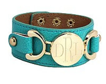 SALE Blue Leather Monogram Bracelet Snap Cuff with Gold Personalized Disc Fashion Leather Bracelet