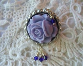 Purple Rose Cabochon and Swarovski Crystal Bottle Cap Brooch, Shabby Chic, Weddings,Pin, brooch, Cabochon jewelry, Womens Jewelry