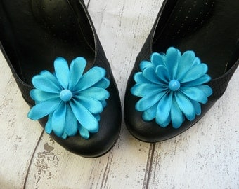 Blue Shoe Flowers, Something Blue Shoe Clips, Blue Shoes Pins, Turquoise Shoe Clips, Beach Shoe Clips, Beach Wedding Shoe Clips