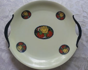 Amazing Art Deco Erphila Double Handled Cake Serving Plate, Hand Painted, made in Germany