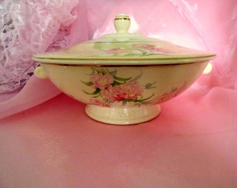 Vintage Shabby Serving Dish Pink Carnation Taylor Smith Taylor Covered Shabby Cottage Chic 1940s Vintage