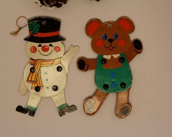 Three Gift Tags Ornaments Jointed Cardboard Vintage Snowman Vintage Mouse Retro Christmas Decor