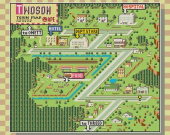 Earthbound/Mother 2 Twoson Town Map Cross Stitch Pattern