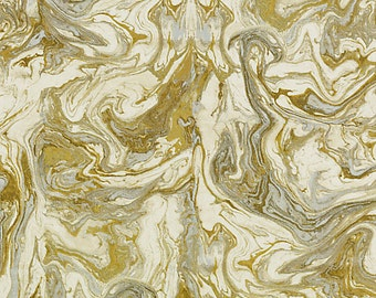 Gold Abstract Upholstery Fabric - Metallic Fabric by the Yard - Modern Gold Drapery - Gold White Fabric - Metallic Home Decor