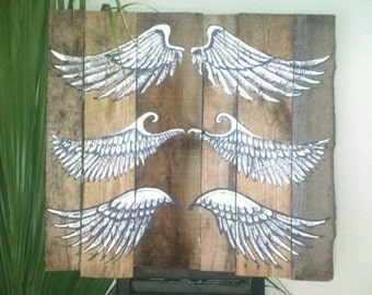 Pairs of Angels Wings hand painted on salvaged wood wall art. Large Panel.