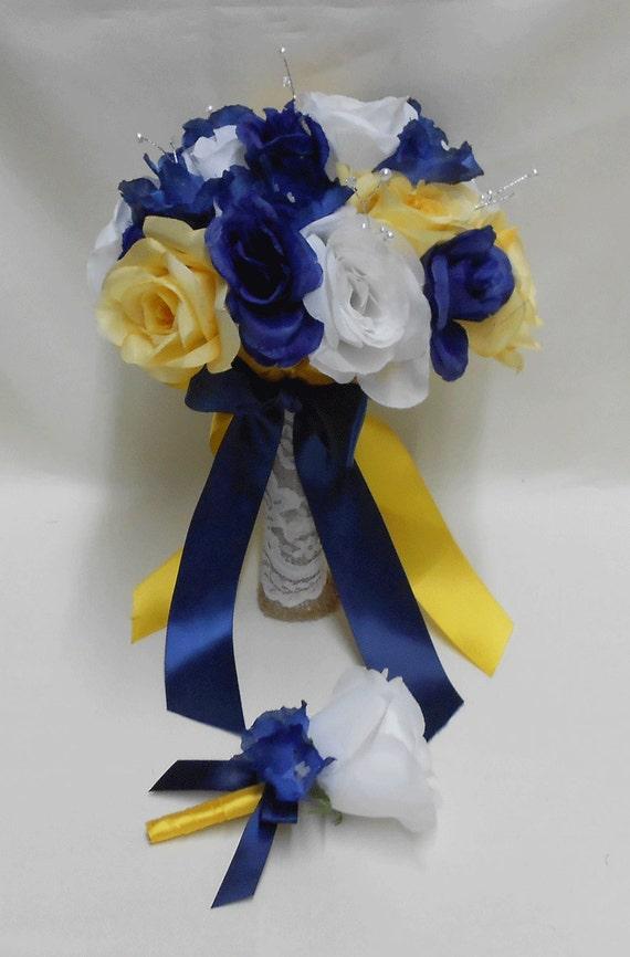 Wedding Navy Blue Yellow Grey Silver Bridal Bouquet By