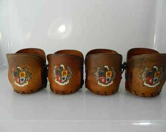 Vintage Leather Glass Holders Leather Cozy Bar Glass Sleeves