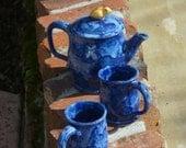 Blue Tea Set with Golden Bird knob - Hand thrown Stoneware Pottery - ceramic tea pot and two tea cups