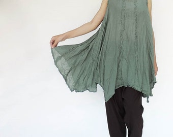 NO.8 Light Olive Green Cotton Gauze Asymmetric Top