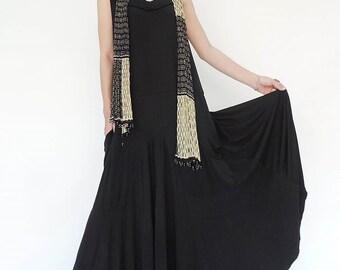 NO.129 Black Rayon Spandex Softly Softly Maxi Dress, Day Dress