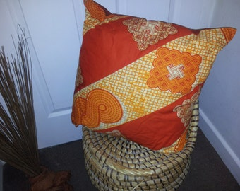 2-way Accent Pillow Throw Cushion cover vibrant African Ankara Kitenge print from West Africa - orange rusty orange - COVER ONLY