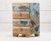 Girls Jewelry Keepsake Box , Four Drawer Box,Blue and Brown,Decoupage,Cottage Chic Decor,Handmade.
