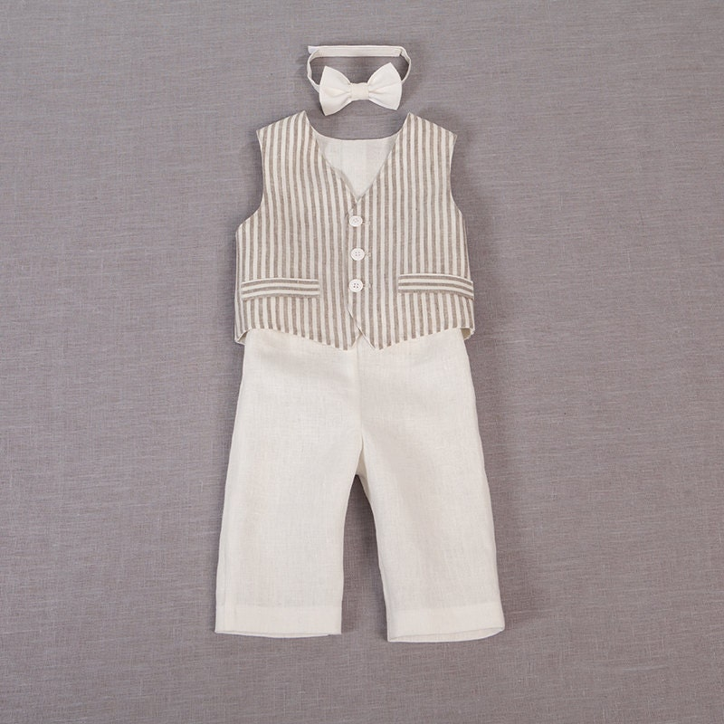 Baby boy ring bearer outfit boy baptism linen suit first - Taufe outfit junge ...