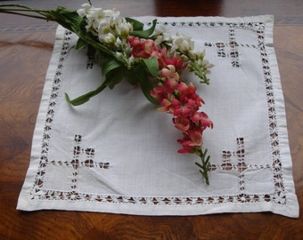 French Linen Doily with Drawn work 1950s