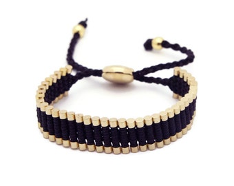 Link Friendship Bracelet - Black with Gold Links (One Direction)