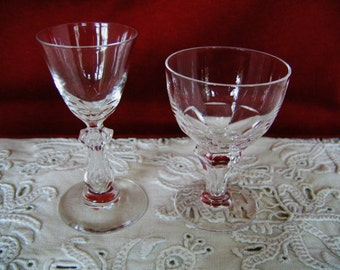 2) Tiny EUROPEAN CORDIAL GLASSES Clear Crystal  Bar Glass Vintage Collectible Crystal Shot Glass Gift Wedding