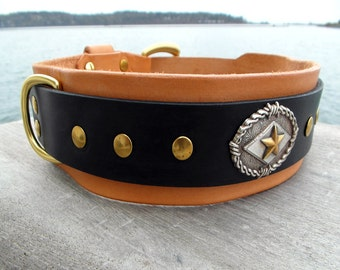Wide Leather Dog Collar, Large Dog Collar, 2 inch Wide Collar, Big Dog Collar, Tan and Black Collar