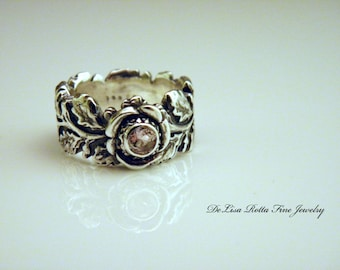 Recycled Silver Cor De Rosa Morganite Engaggement Ring, Wedding Ring, Diamond Alternative, Woodland Collection