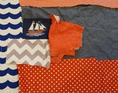 DESTASH - Fabric Scraps - LOT 8 - Nautical / Chambray
