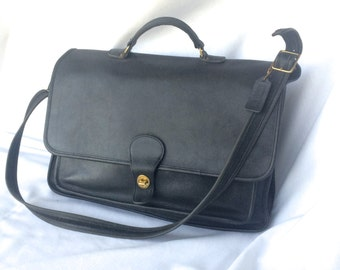 Vintage COACH Briefcase Laptop Bag in Black Leather