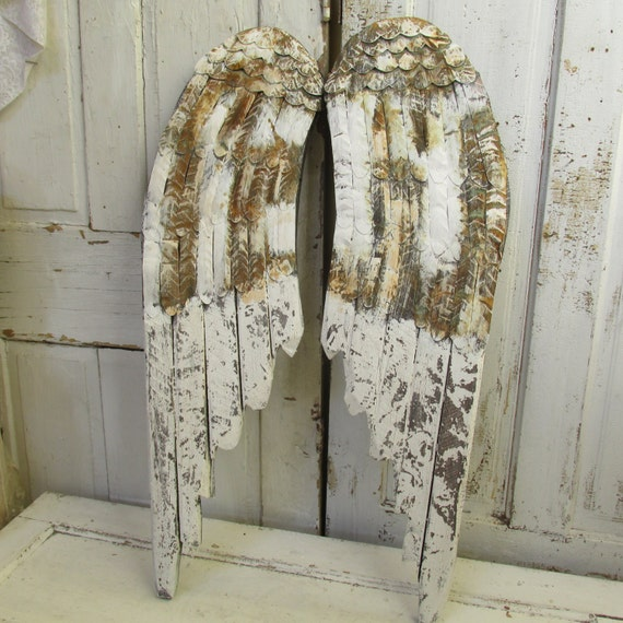 Wood Wings Wall Decor : White angel wings wall decor wood and metal painted distressed