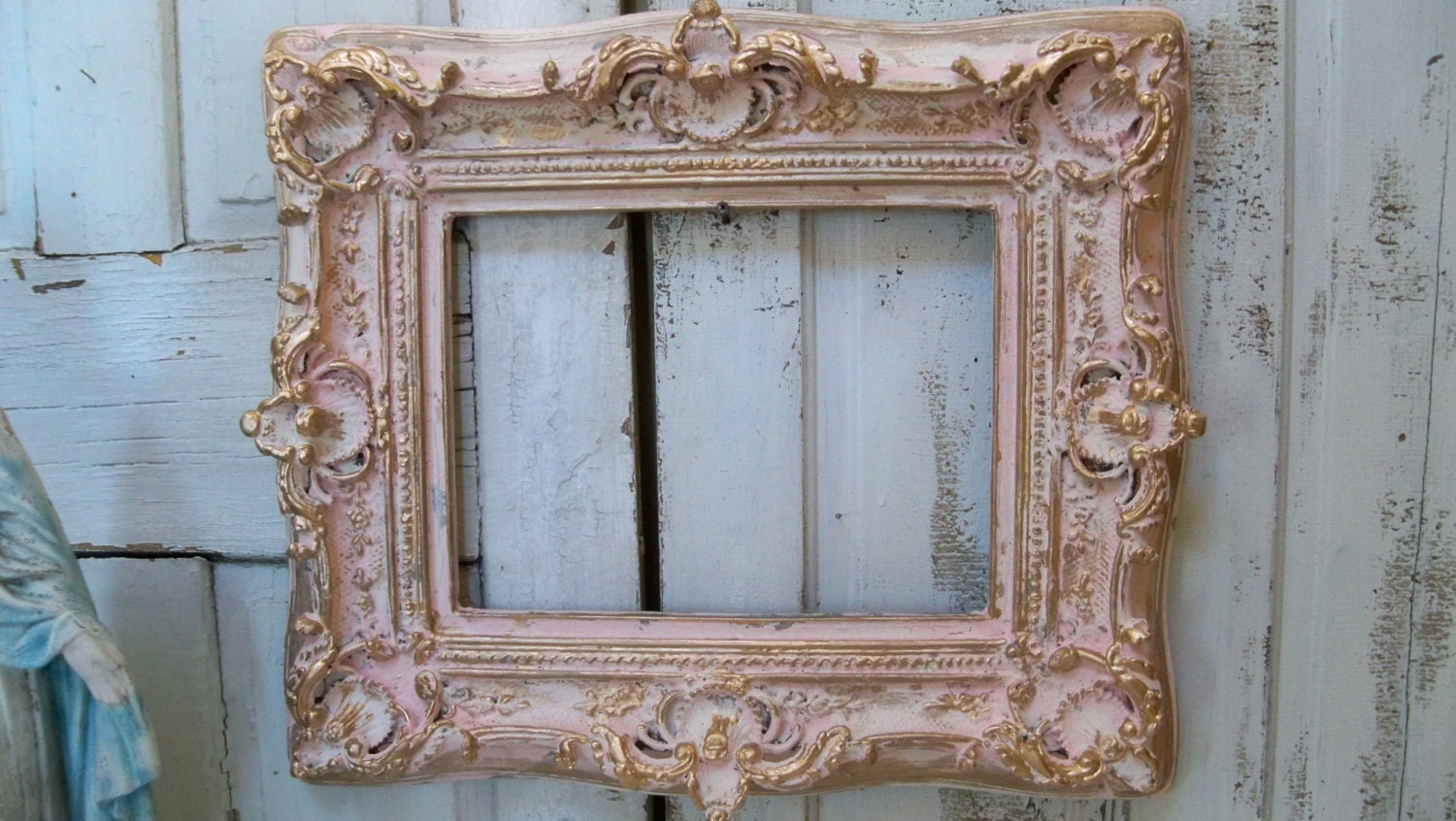 large pink cream frame shabby chic ornate wood distressed gold. Black Bedroom Furniture Sets. Home Design Ideas