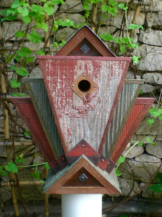The Phoenix: Art Deco Birdhouse Handmade from Vintage Barn Wood and Metal--Made to Order