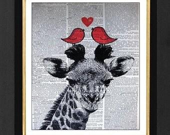 "Giraffe Art-"" Lovely "" Giraffe Art, Giraffe Pictures,Mixed Media art print on 8x10 Vintage Dictionary page, Dictionary art, Dictionary print"