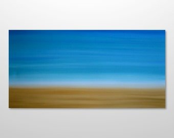 Large 48 x 24 Abstract Beach Painting - Original Canvas Acrylic Minimalist Modern Wall Art Decor - Blue Sky, Yellow Sand - Huge Wide Long