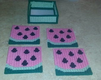 Plastic Canvas Watermelon Coasters