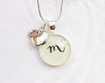 Teacher Gift - Personalized Teacher Necklace, Initial & Apple Charm, Handmade Teacher Appreciation Gift, End of Year Gift for Teacher
