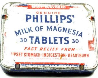 Vintage Drugstore Milk Of Magnesia Tablet Tin - Red White Blue Pocket Tin