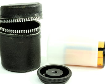 Black Faux Leather Zippered Vintage Film Case - Camera Strap Accessory